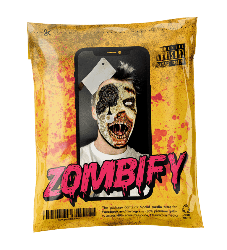 AR Social media filter for Instagram and Facebook, Zombify by Mihal Poustka